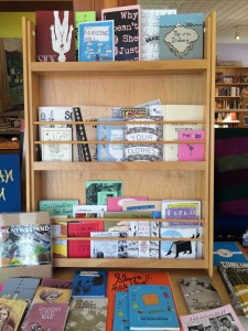 display case of zines
