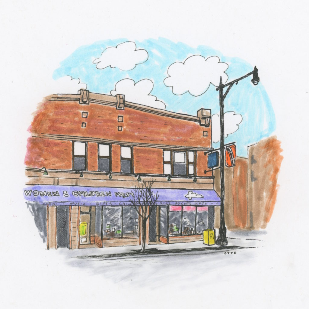 color illustration of the women and children first feminist bookstore storefront