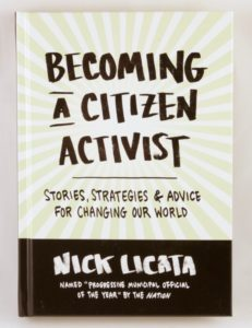 Cover of Becoming a Citizen Activist, which has green and white rays behind the title like sunbeams.