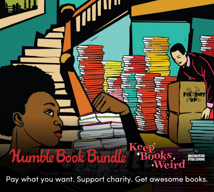 Illustration of publishers moving books, from the cover of A People's Guide to Publishing, plus the humble bundle tagline Pay what you want. Support charity. Get awesome books.