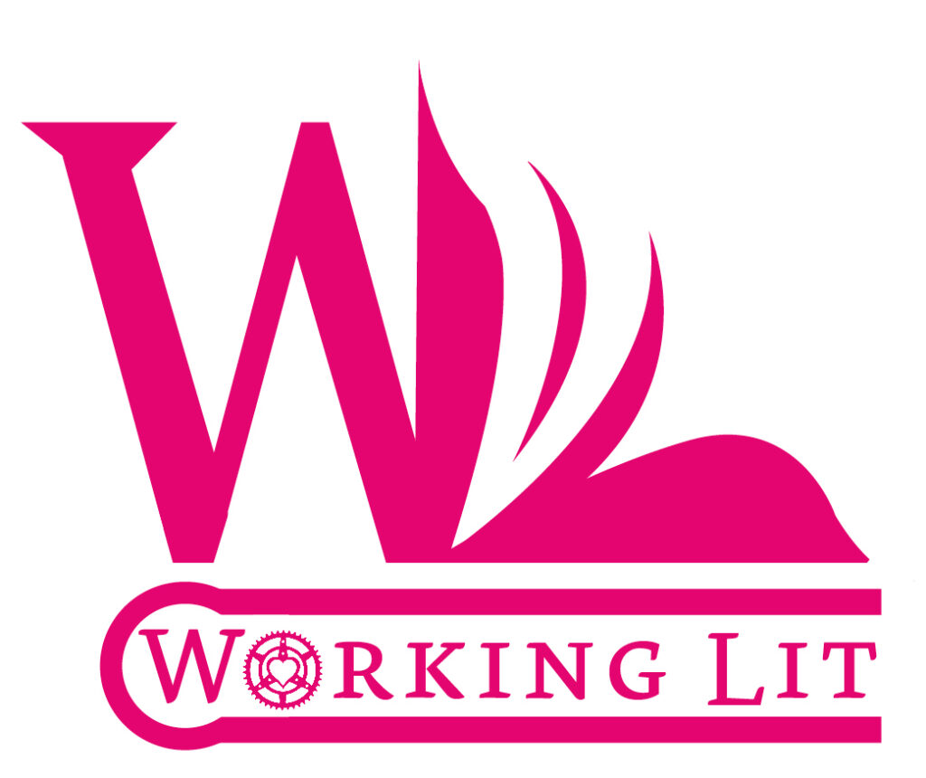 a logo with an open book