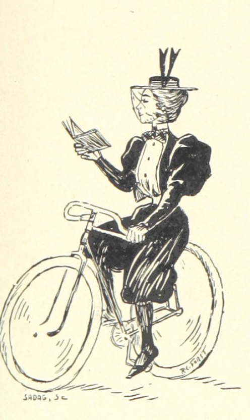 a victorian lady reading a book while bicycling