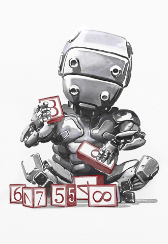 baby robot illustration from the lifecycle of software objects