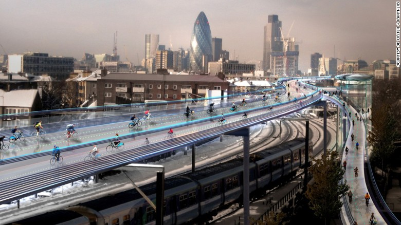 futuristic elevated cycling highway