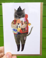 Furcoats and Backpacks greeting card (Figaro- blanket and ukelele)
