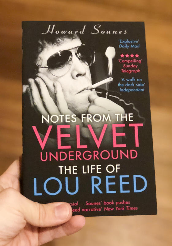 Cover of Notes from the Velvet Underground, which has an image of Lou Reed in aviators smoking above the title of the book