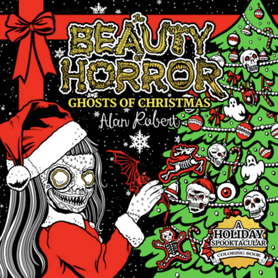 a ghoulish girl in a santa suit decorates a christmas tree with bats and skulls and eyeballs
