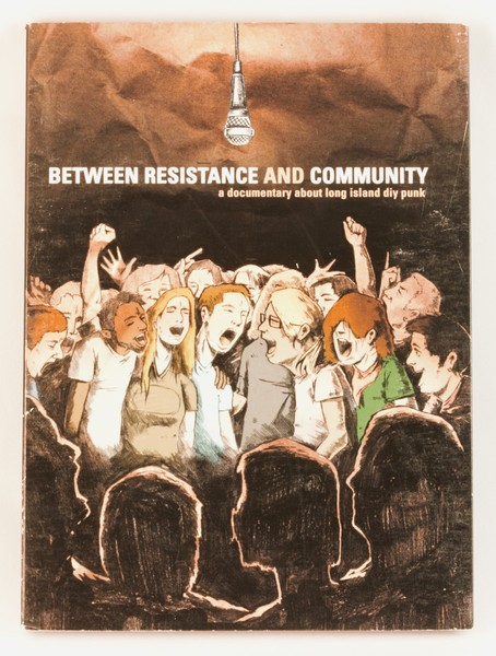 Between Resistance and Community dvd cover depicting a lot of punk kids singing