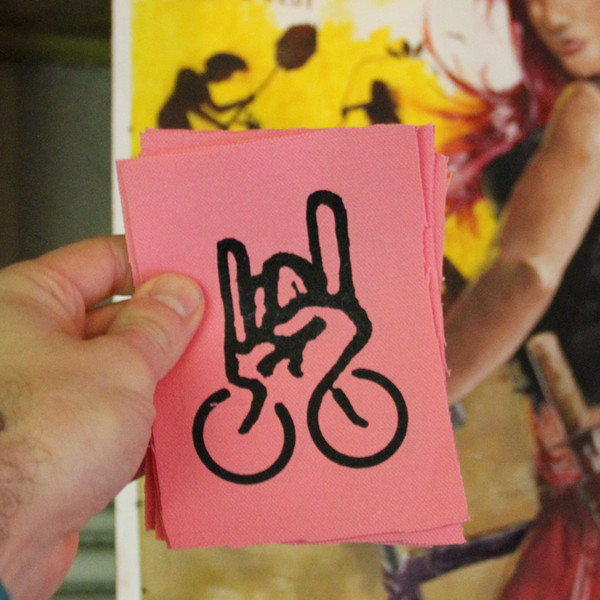 punk fist bicycle metal patch