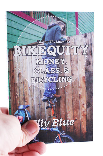 A woman standing on her bike's handlebars and looking over a tall fence - the cover for Bikequity: Money, Class & Bicycling