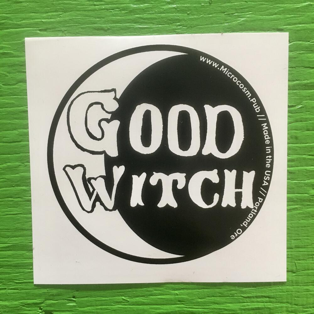 a crescent moon with the text good witch