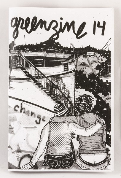 A zine with an illustration of two people with their arms around one another looking over a large vat and vegetated hills