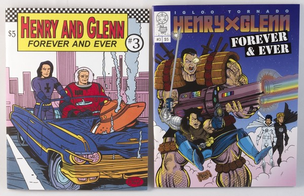 two books with the same content but different covers. One has Henry & Glenn in a car with a UFO crashed into the hood, the other has Henry & Glenn brandishing futuristic guns