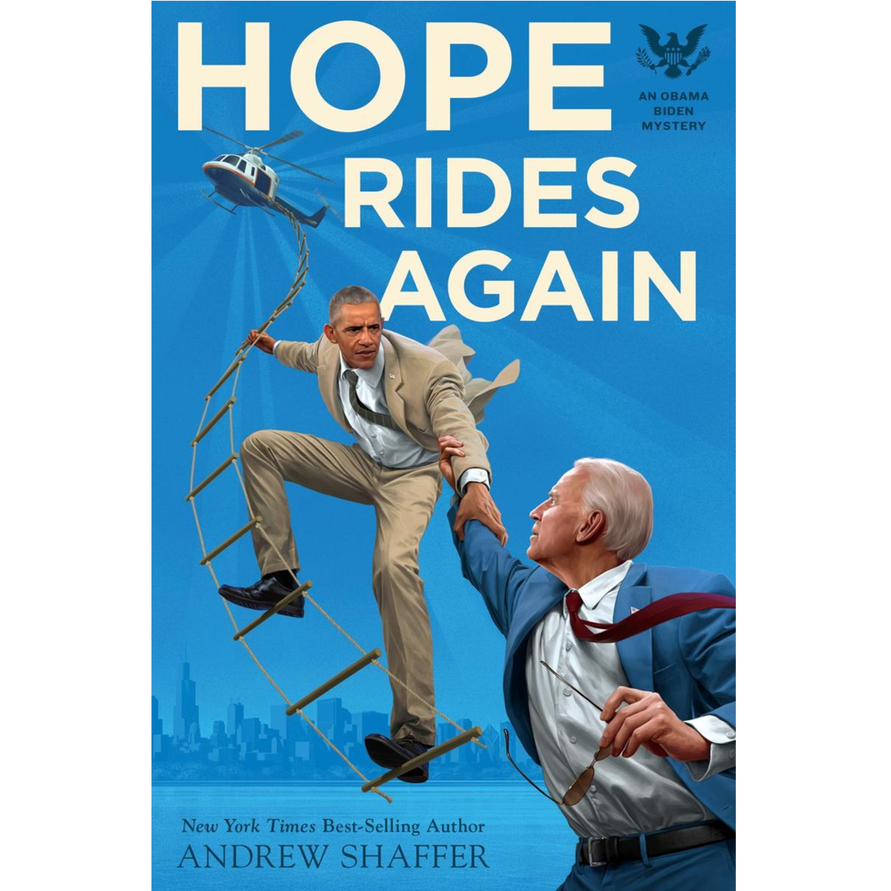obama reaches down for biden as he clings to a ladder dangling from a helicopter