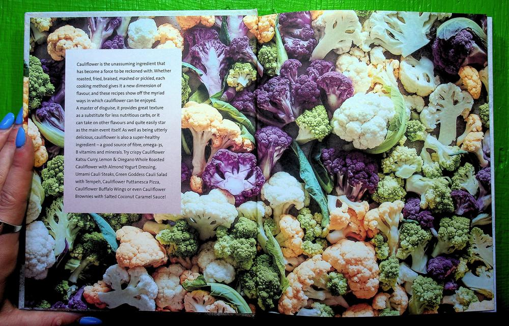 Full pages of Purple, White, yellow, and green cauliflower with a white text box on the left side