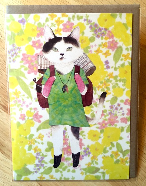 Furcoats and Backpacks greeting card (Jackie—tie-dye shirt and bird cage)