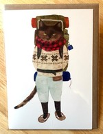 Furcoats and Backpacks greeting card (Jake—snowshoes)