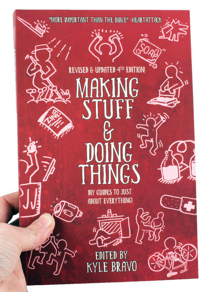 a red book cover with white outline illustrations of people making stuff and doing things