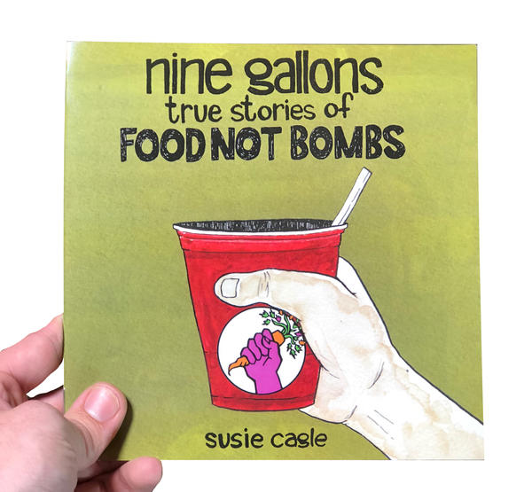 a hand on an olive background holding a red cup with the Food Not Bombs logo