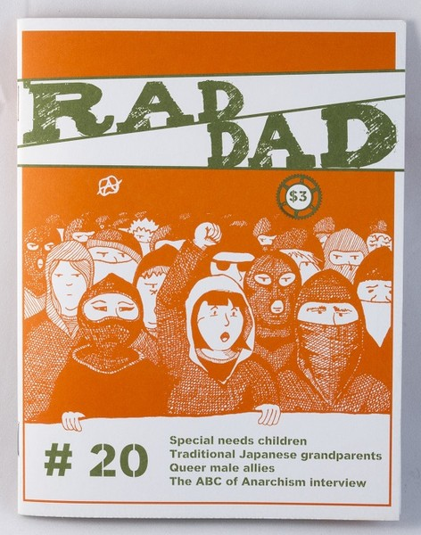 Orange zine with an illustration of a crowd of protesters