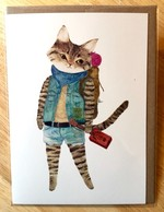 Furcoats and Backpacks greeting card (Travis—cigar case guitar)
