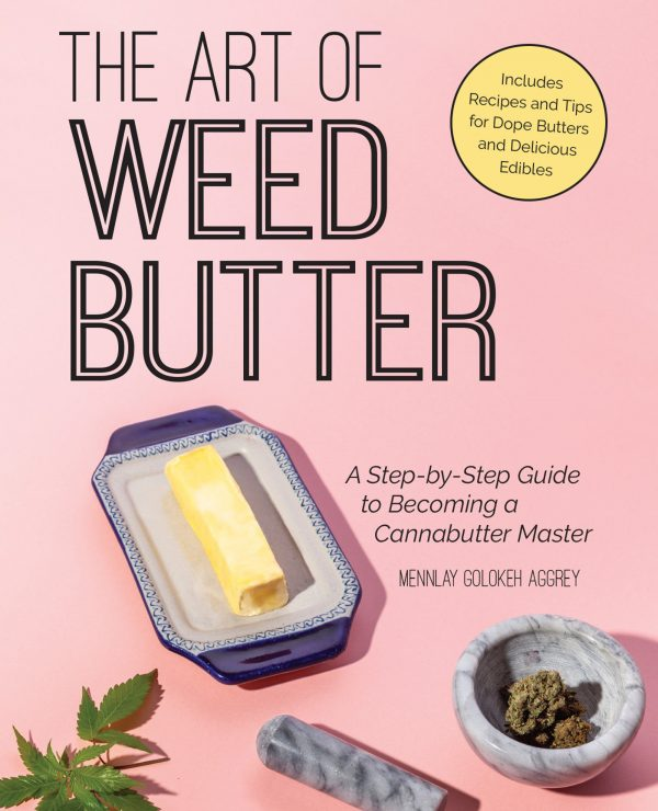 a stick of weed butter on a dish next to a marble pestle and mortar with a few buds of weed in it