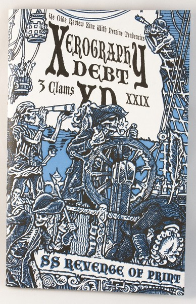 A blue zine with an illustration of skeleton pirates manning a ship