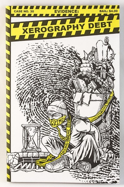 "A black, white, and yellow zine with an illustration of a man tied to a dumpster with crime ""do not cross"" tape"